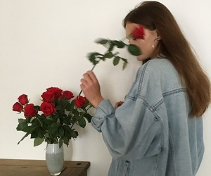 denim jacket, aesthetic girl, and red roses image