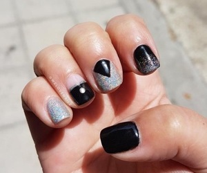 black nails, holographic, and glitter nails image