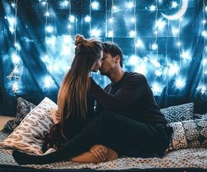 bed, bedroom, and kiss image