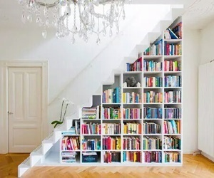 books, cozy, and stairs image