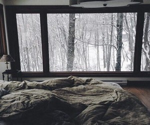 winter, snow, and bed image