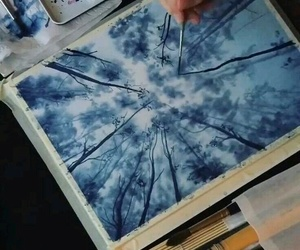 art, blue, and forest image