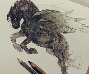 art, horse, and wings image