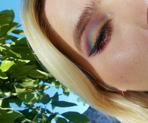 makeup, rainbow, and nature image