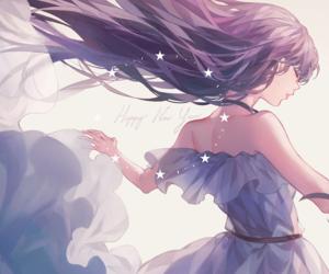 anime girl, long hair, and stars image