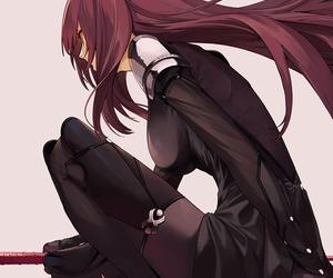 anime girl, red hair, and long hair image
