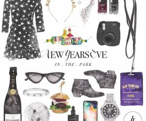 black dress, camera, and new year image