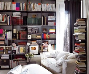 armchairs, books, and interior decorating image