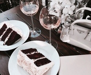 food, cake, and wine image