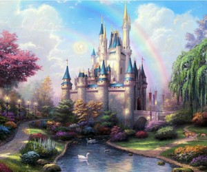 castle, disney, and rainbow image