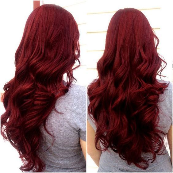 Scarlet Hair Color With Long Wavy Hair Style Nice Dark Red