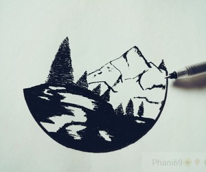 dibujo, drawing, and mountains image