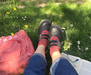 socks, grass, and jeans image