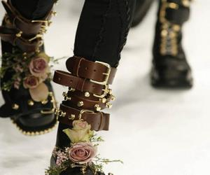 fashion, boots, and flowers image