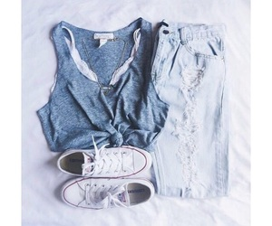 shirt, shoes, and rip jeans image