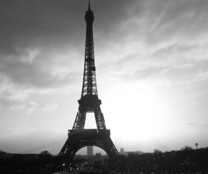 black and white, eiffel, and paris image