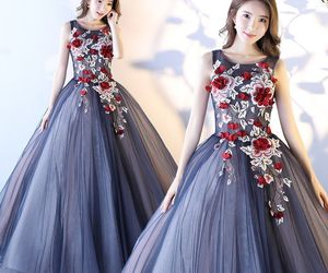 ball gown, long prom dress, and 2017 image