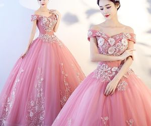 ball gown, girl, and long dress image
