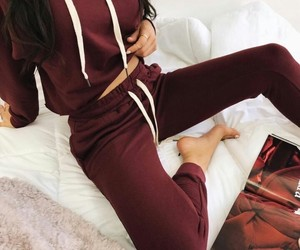 cherry red, sport outfit, and burgundy image