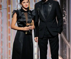 emma watson, black, and golden globes image