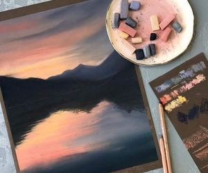 acrylic paint, pretty, and sunset image