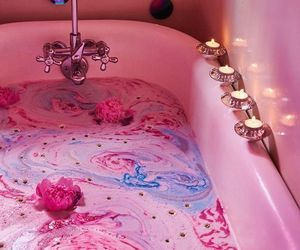 pink, bath, and candle image