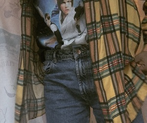 boyfriend jeans, checked shirt, and clothes image