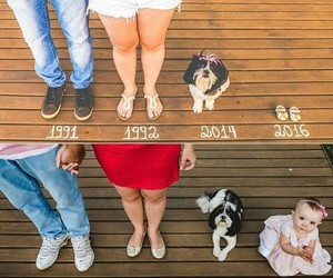 family, baby, and dog image