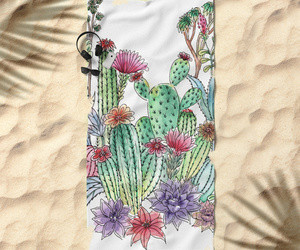 beach, watercolour, and cacti image