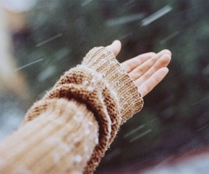 snow, winter, and hand image