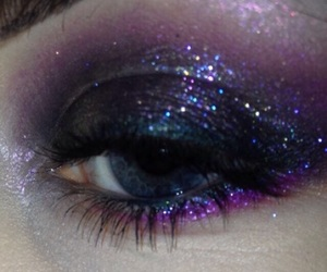 makeup, glitter, and dark image