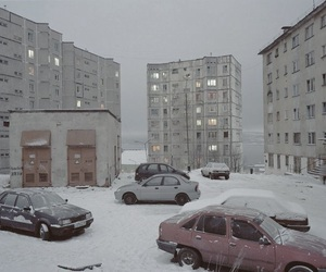 snow, pale, and cars image