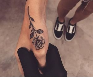 rose, tattoo, and vans image