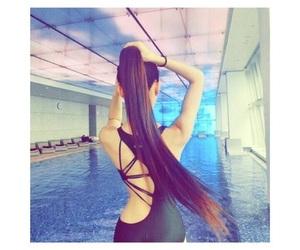 hair, long hair, and pool image