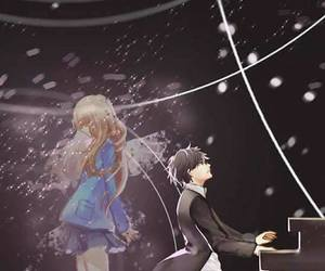 anime, your lie in april, and piano image