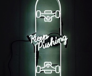 neon, skateboard, and light image