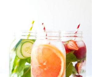 fruit, mason jars, and Straws image
