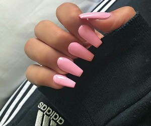 nails, pink, and adidas image