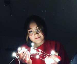 black, fairy lights, and girl image