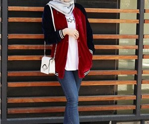 hijab, fall style, and bomber jacket image