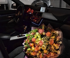 car, flowers, and lifestyle image