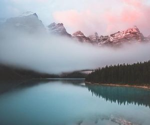 clouds, lake, and mountain image