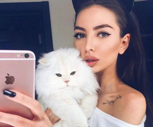 girl, cat, and eyebrows image