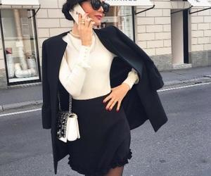 black, chic, and skirt image