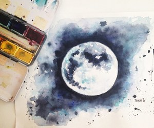 drawing, moon, and painting image
