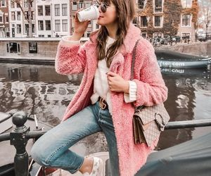 coat, girl, and jeans image