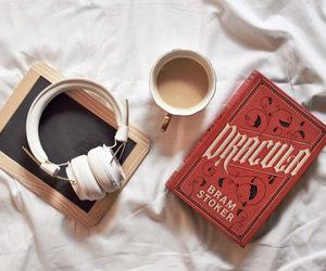 books, coffee, and Dracula image