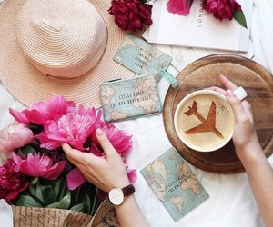 coffee, flowers, and travel image