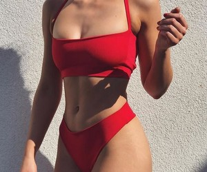 red, girl, and swimsuit image