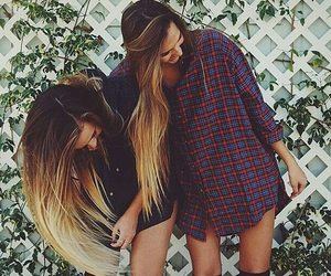 girl, friends, and long hair image